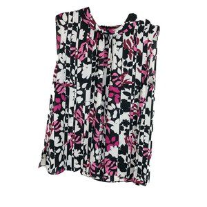 Vince Camuto Floral High Neck Blouse Sleeveless M